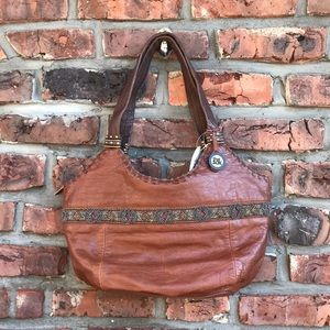 The Sak Tabac Bead Brown Leather Hobo Satchel NWT